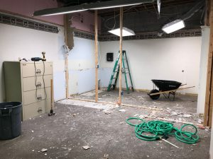 Demo of lunch room from office that is also under construction