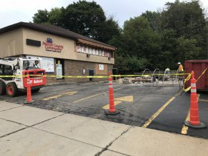 Drive thru blocked off and canopy gone