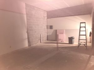 View of lunch room under construction