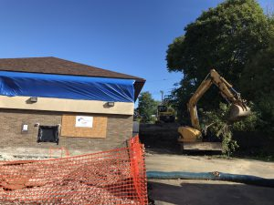 Area for new addition being leveled