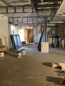 New office walls going up where front door use to be