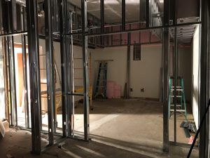 Looking into the new board room from the lunch room