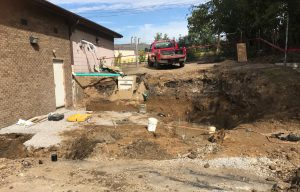 Getting ready to start the foundation for the new addition at back of building