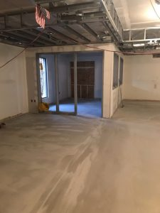 New office and new concrete to level the floor inside
